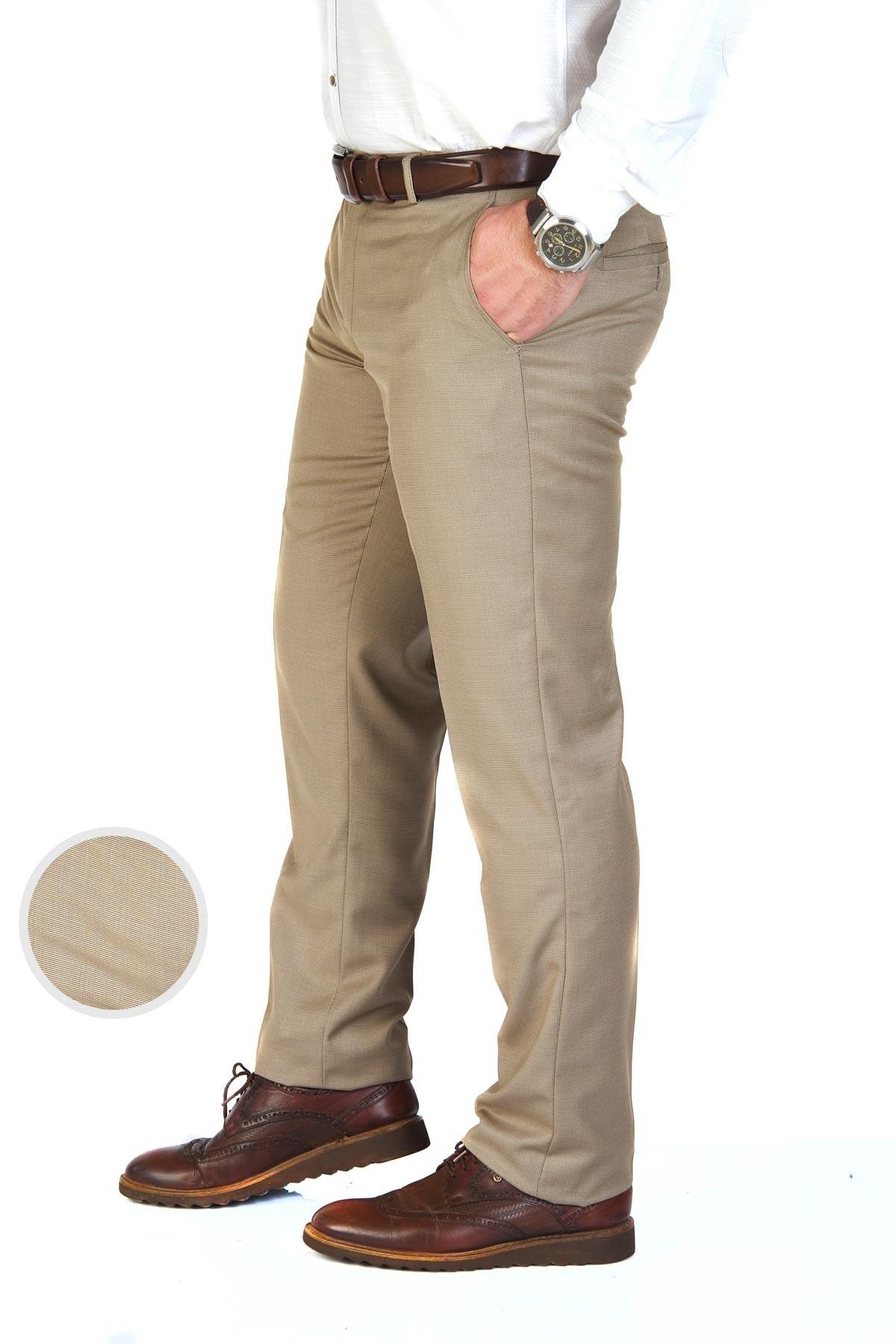 Erkek Bej Kuş Gözü Regular Fit Kumaş Pantolon