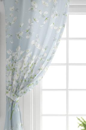 Realhomes Tek Kanat Mavi Zeminde Beyaz Ortanca Çiçeği Baskılı Dijital Baskılı Fon Perde 1