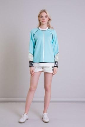 GIZIA Hologram Bilek Detaylı Turkuaz Renk Sweatshirt 3