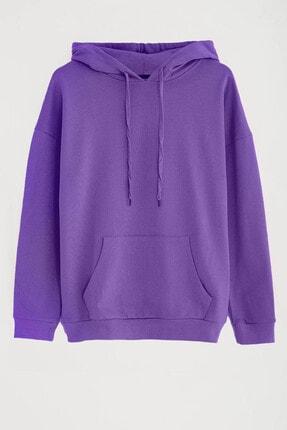 GRIMELANGE JANE Kadın Mor Basic Kapüşonlu Sweatshirt 0