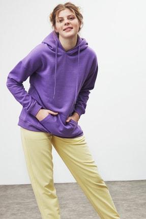 GRIMELANGE JANE Kadın Mor Basic Kapüşonlu Sweatshirt 1