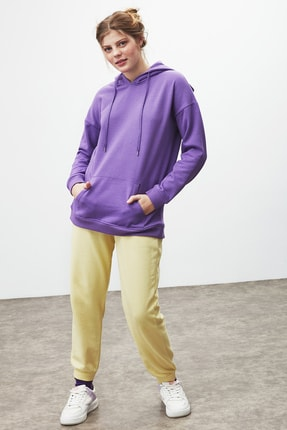 GRIMELANGE JANE Kadın Mor Basic Kapüşonlu Sweatshirt 2