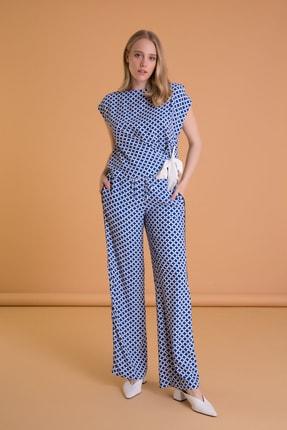 Picture of Geometrik Desenli Geniş Kesim Mavi Pantolon