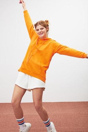 GRIMELANGE JANE Kadın Turuncu Basic Kapüşonlu Sweatshirt 2