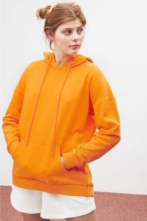 GRIMELANGE JANE Kadın Turuncu Basic Kapüşonlu Sweatshirt 4