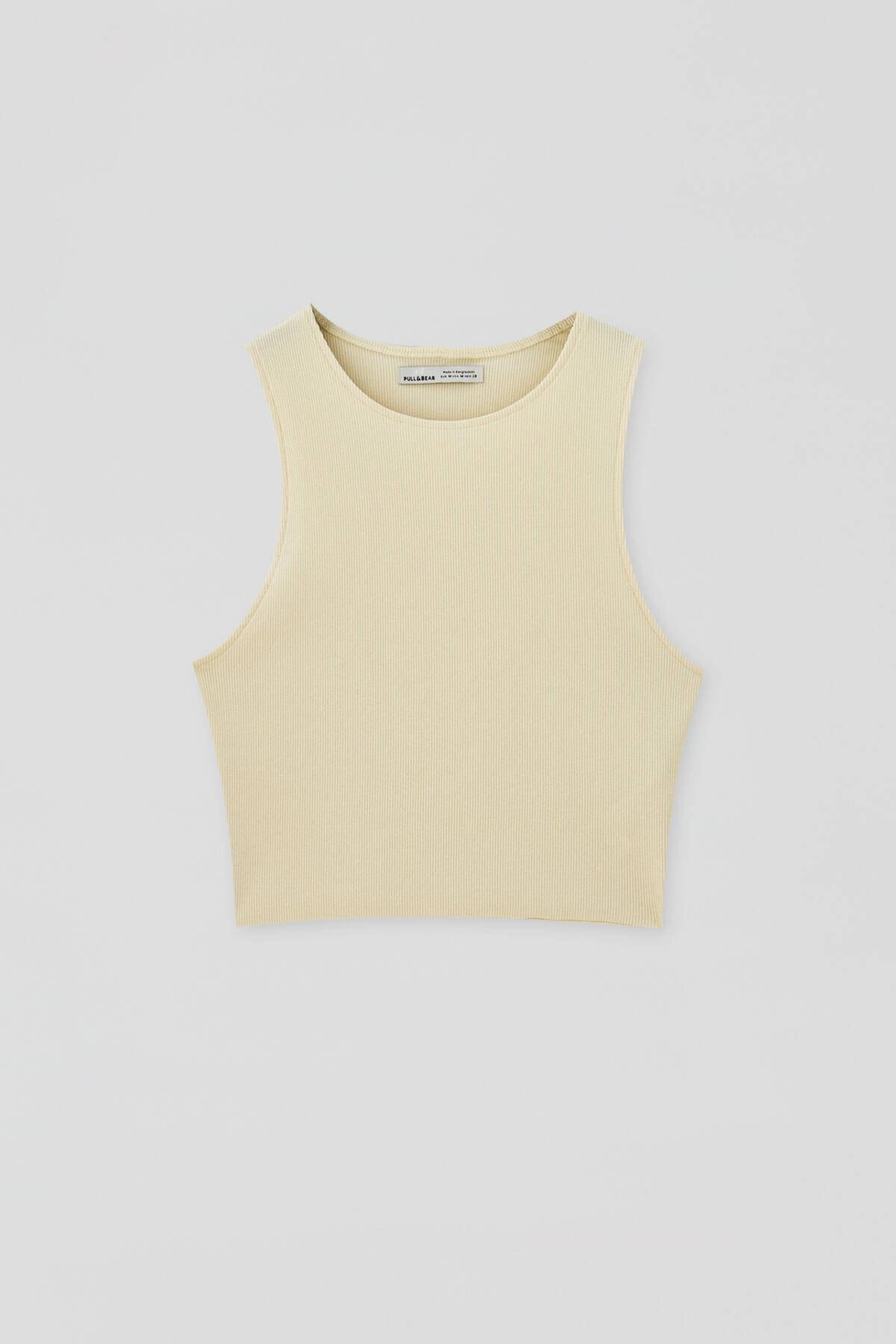 Pull & Bear Kadın Açık Sarı Kolsuz Fitilli Top 04240362 4