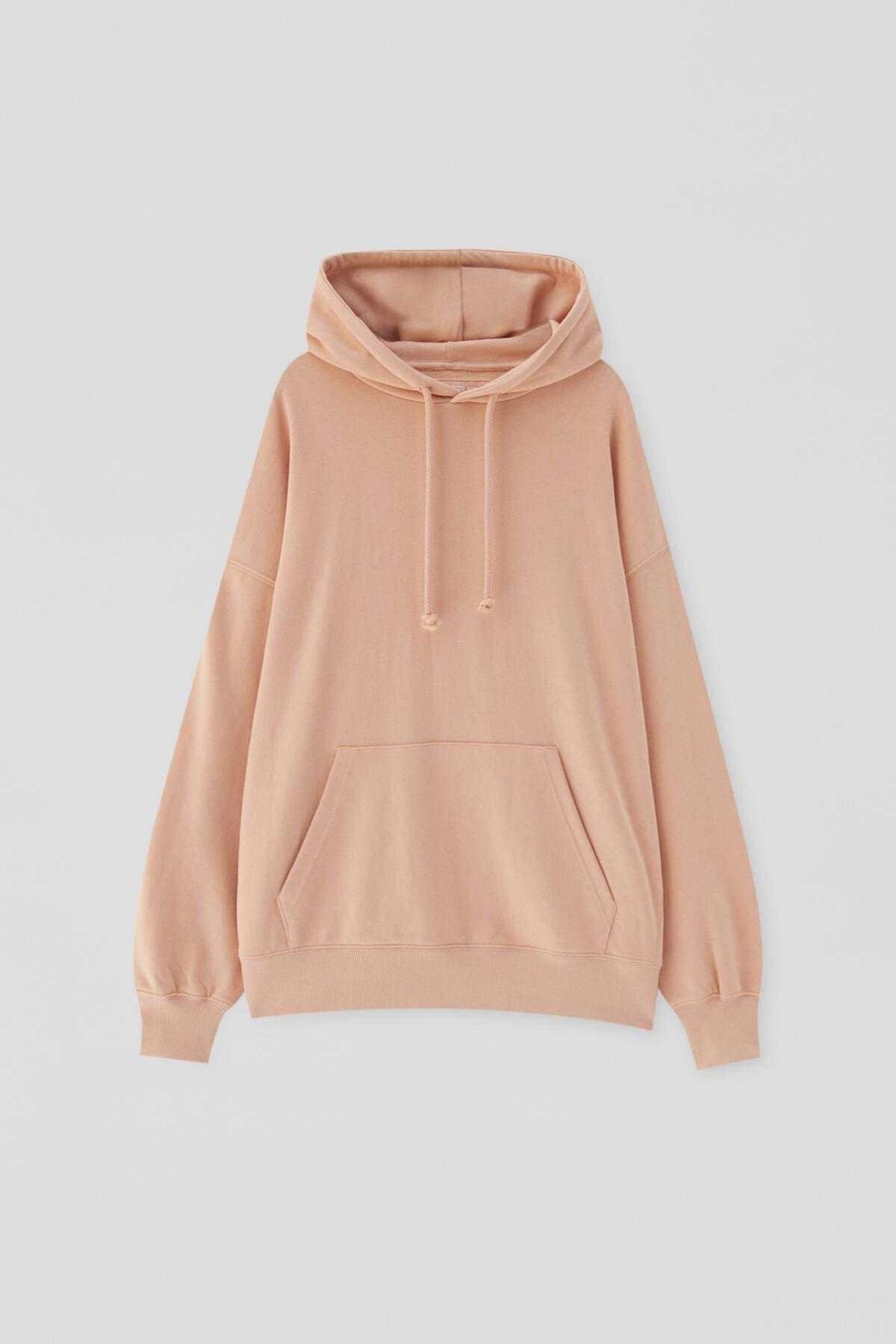 Pull & Bear Kadın Açık Somon Kanguru Cepli Kapüşonlu Oversize Sweatshirt 04591369 4
