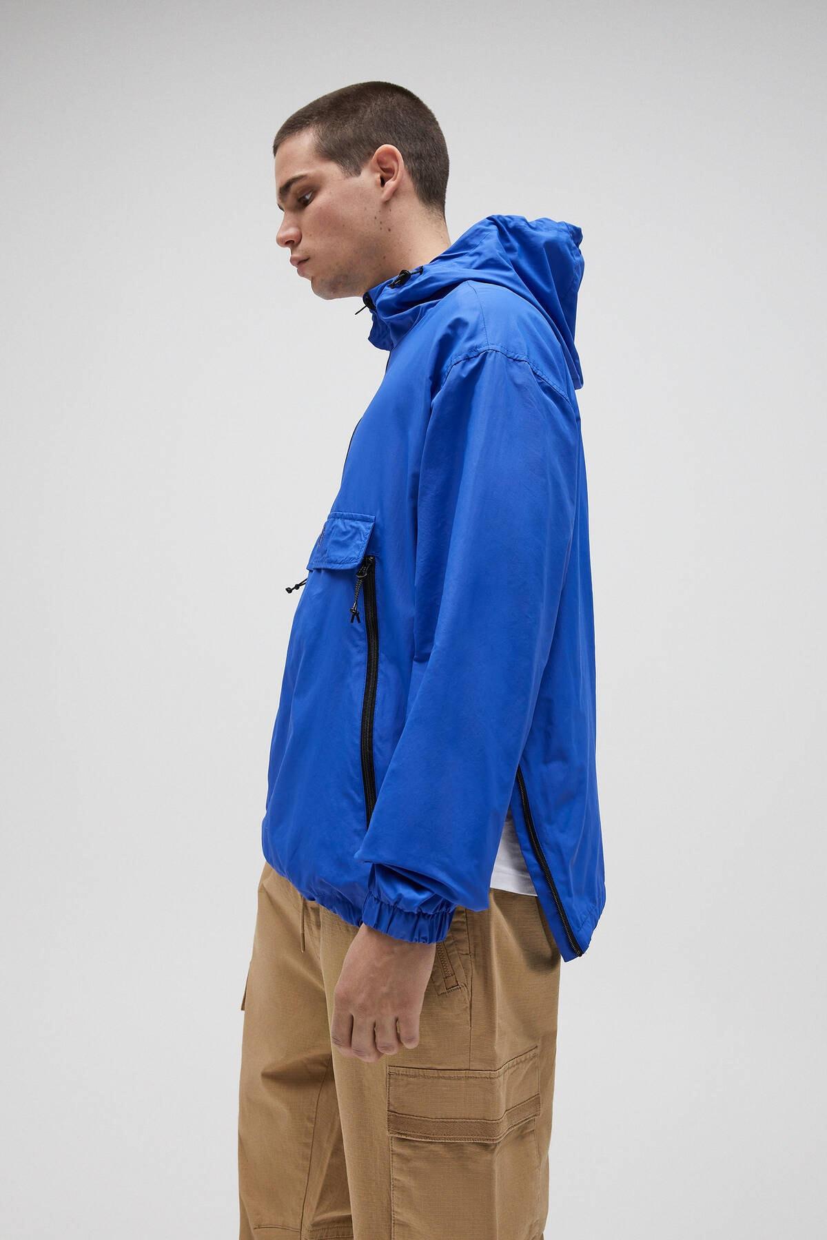 Pull & Bear Erkek Yoğun Mavi Basic Stwd Logolu Kanguru Mont 04711541 1