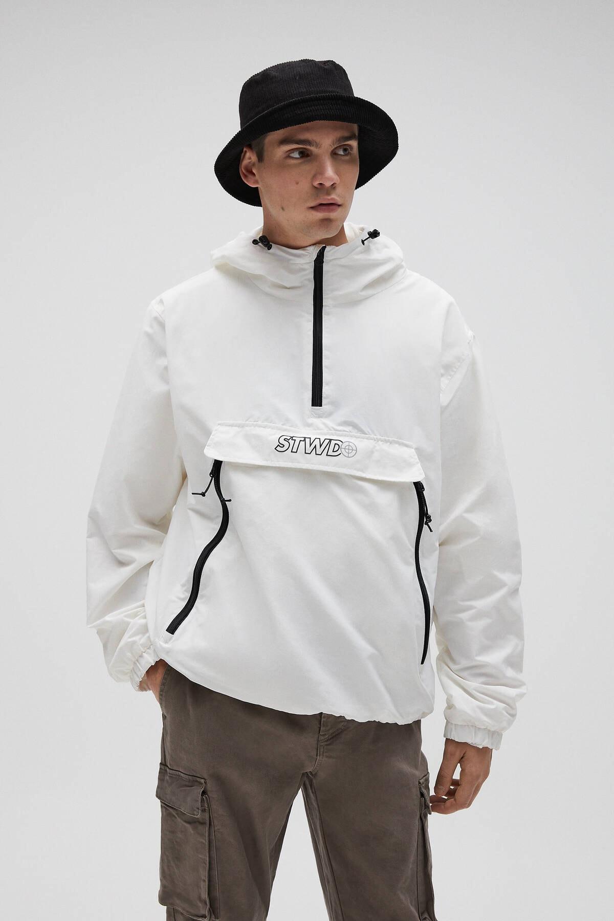 Pull & Bear Erkek Beyaz Basic Stwd Logolu Kanguru Mont 04711541 0