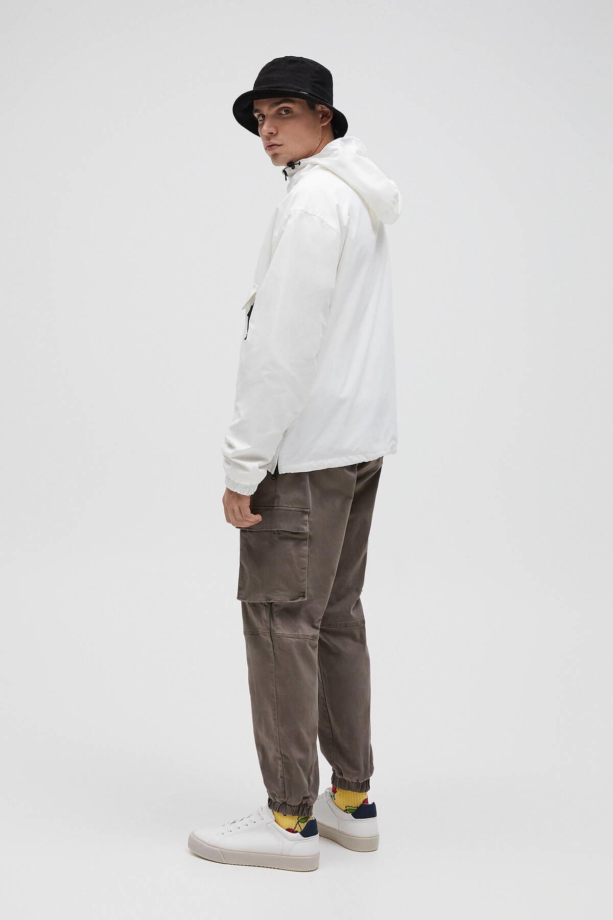 Pull & Bear Erkek Beyaz Basic Stwd Logolu Kanguru Mont 04711541 3