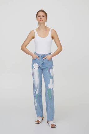 Pull & Bear Kadın Mavi Yüksek Bel Boya Desenli Jeans 0