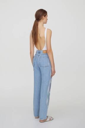 Pull & Bear Kadın Mavi Yüksek Bel Boya Desenli Jeans 2