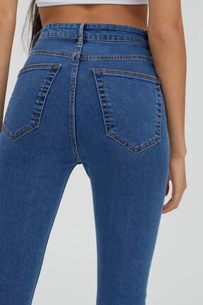 Pull & Bear Kadın Mavi Yüksek Bel Robalı Jeans 1