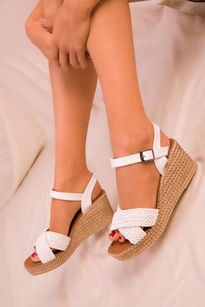 Soho Exclusive Beyaz Kadın Dolgu Topuklu Ayakkabı 15850 1