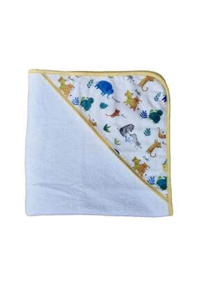 Elmira Textile Unisex Bebek Beyaz  Hayvan Desenli Kundak Banyo Havlusu  75x75 2