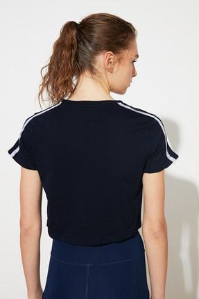 TRENDYOLMİLLA Lacivert Şeritli Crop Spor T-Shirt TWOSS21TS0551 3