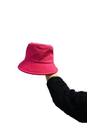 Orçun Özkarlıklı Düz Fuşya Pembe Kova Şapka Balıkçı Kadın Şapka Bucket Hat 0