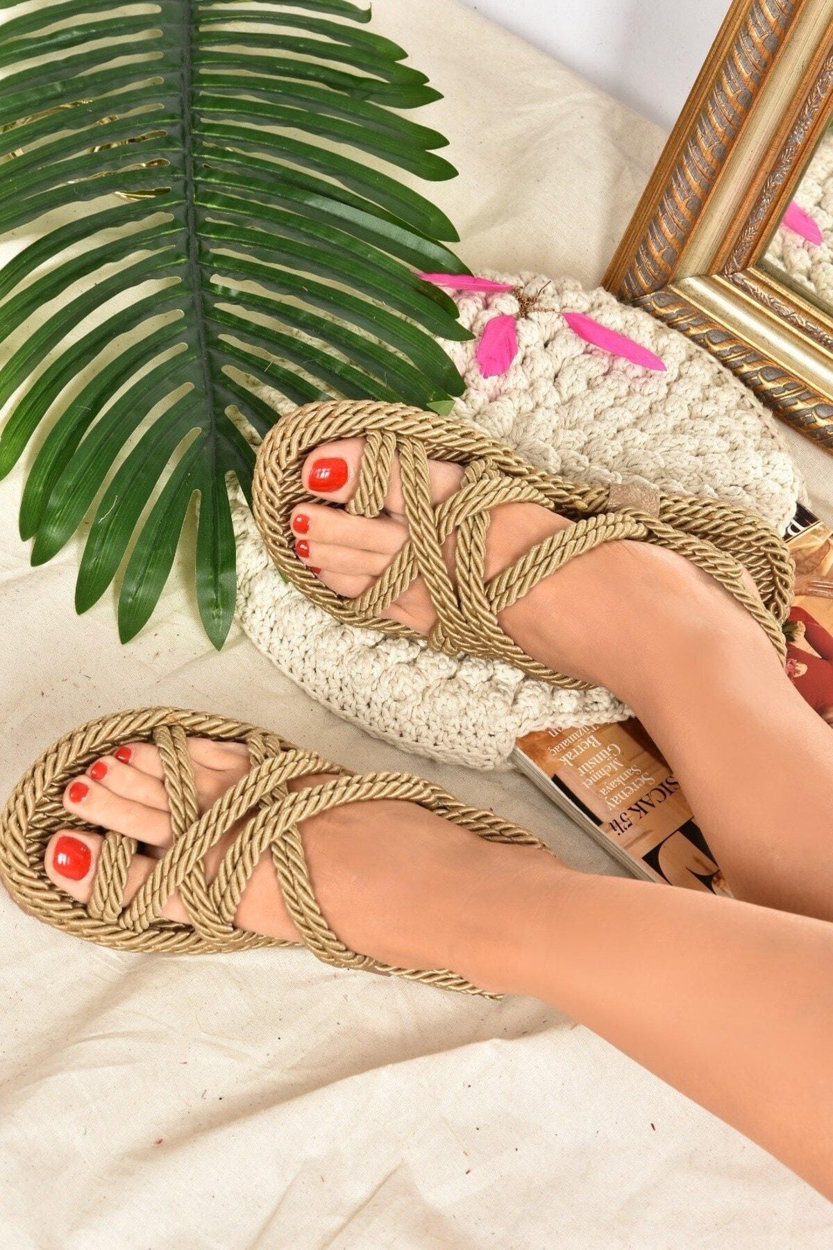 Kadın Altın Renk Kumaş Sandalet F470135104