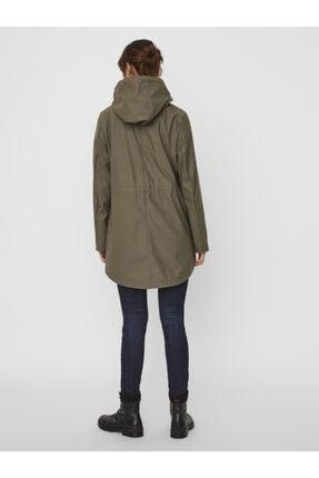 Vero Moda Kadın Haki Kapüşonlu Belden Büzülebilir Yağmurluk Mont 10244841 2
