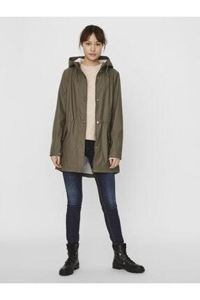 Vero Moda Kadın Haki Kapüşonlu Belden Büzülebilir Yağmurluk Mont 10244841 3