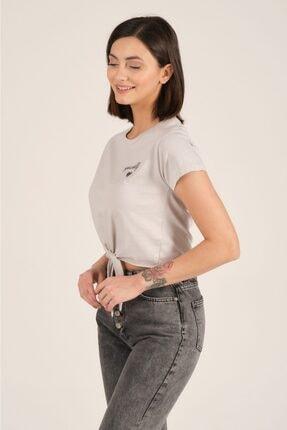 Tena Moda Kadın Gri Ön Arka Nakışlı Tişört 3