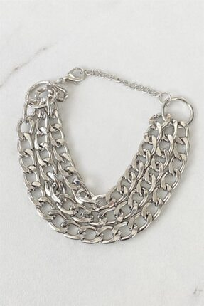 Takıştır Kadın Gümüş Üçlü Zincir Bileklik 1