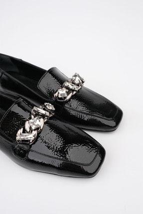 Marjin Kadın Siyah Rugan Loafer Ayakkabı Bifan 4