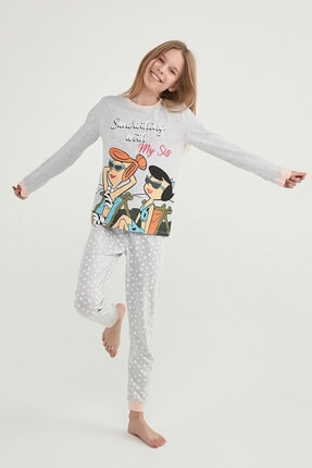Picture of Kız Çocuk Gri Çok Renkli Lıc Flınstones Ls 2li Pijama Takımı