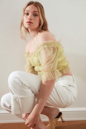 TRENDYOLMİLLA Sarı Tül Örme Bluz TWOSS21BZ0637 3