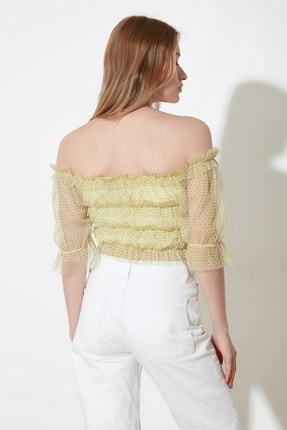 TRENDYOLMİLLA Sarı Tül Örme Bluz TWOSS21BZ0637 4