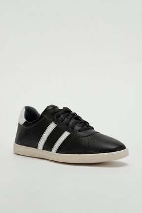 Muggo Erkek Siyah Hakiki Deri Sneaker Mgoslo04 0
