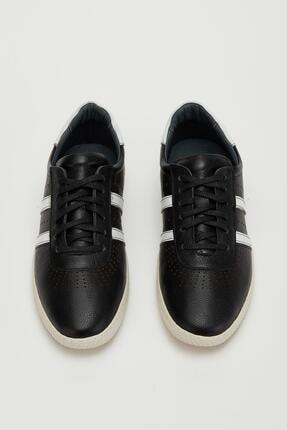 Muggo Erkek Siyah Hakiki Deri Sneaker Mgoslo04 1