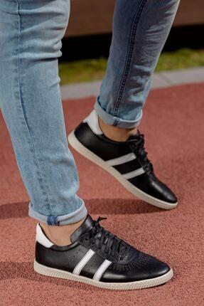 Muggo Erkek Siyah Hakiki Deri Sneaker Mgoslo04 4