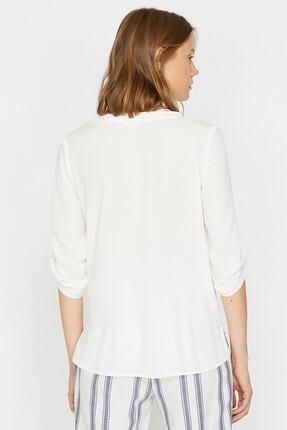 Koton Kadın Ekru V Yaka Kol Detaylı Bluz 0KAK68042PW 3