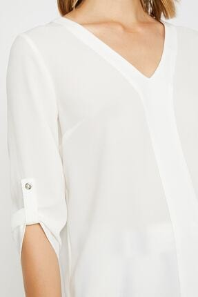 Koton Kadın Ekru V Yaka Kol Detaylı Bluz 0KAK68042PW 4