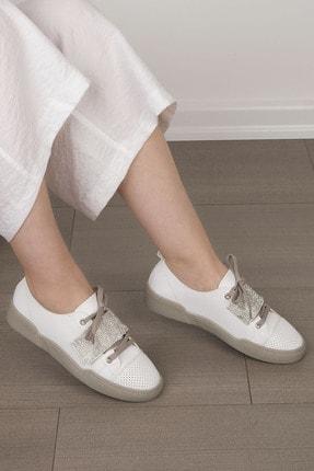 Marjin Kadın Beyaz Gümüş Sneaker Spor Ayakkabı Noni 2