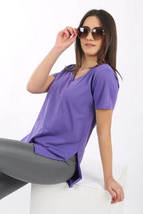 SARAMODEX Kadın Mor V Yaka Düz Renk Basic T-Shirt 2