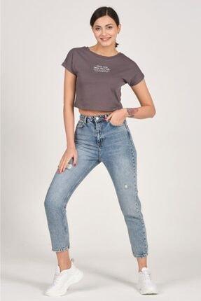 Tena Moda Kadın Antrasit Mental Note Nakışlı Tişört 3
