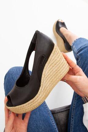 derithy Kadın Siyah Older Dolgu Topuklu Ayakkabı lzt0536 2