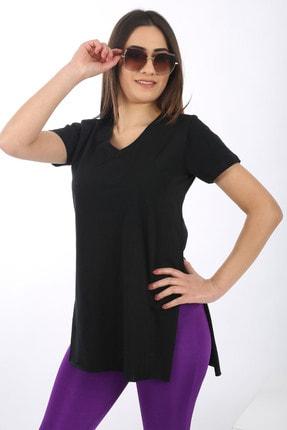 SARAMODEX Kadın Siyah V Yaka Düz Renk Basic T-Shirt 1