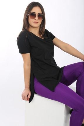 SARAMODEX Kadın Siyah V Yaka Düz Renk Basic T-Shirt 3