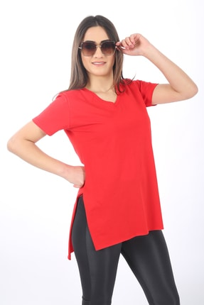 SARAMODEX Kadın Kırmızı V Yaka Düz Renk Basic T-Shirt 0