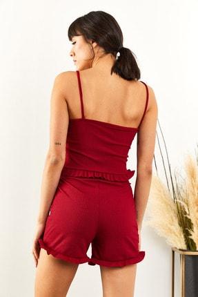 Olalook Kadın Bordo Askılı Fırfırlı Pijama Takımı TKM-19000076 3