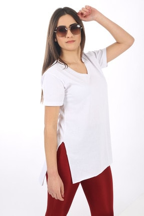 SARAMODEX V Yaka Düz Renk Basic Tişört 1