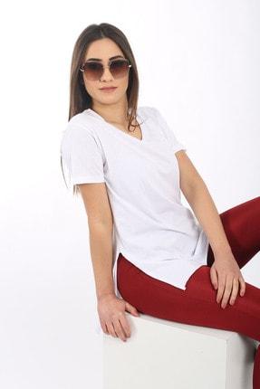 SARAMODEX V Yaka Düz Renk Basic Tişört 3