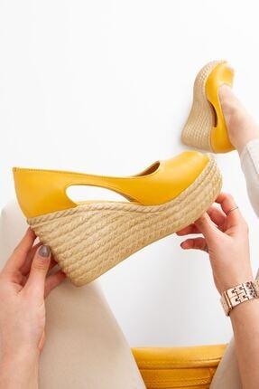 derithy Older Dolgu Topuklu Ayakkabı-hardal-lzt0536 2
