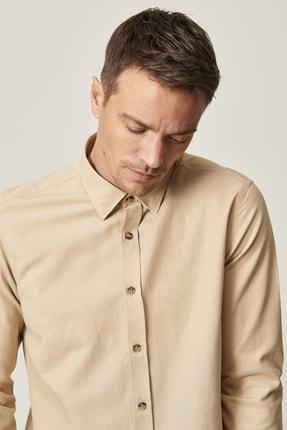 Altınyıldız Classics Erkek Bej Tailored Slim Fit Dar Kesim Düğmeli Yaka Oxford Gömlek 0