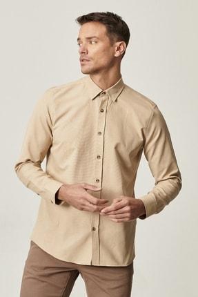 Altınyıldız Classics Erkek Bej Tailored Slim Fit Dar Kesim Düğmeli Yaka Oxford Gömlek 2