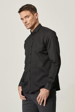 Altınyıldız Classics Erkek Siyah Tailored Slim Fit Dar Kesim Düğmeli Yaka Armürlü Gömlek 2
