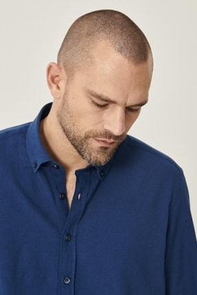 Altınyıldız Classics Erkek Lacivert Tailored Slim Fit Dar Kesim Düğmeli Yaka Keten Gömlek 3